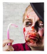 Monster Holding Sad Toothbrush. Rotting Teeth Fleece Blanket
