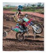 Motocross Rider Fleece Blanket