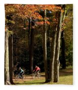 Mountain Bikers Ride In New Gloucester Fleece Blanket