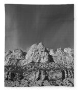 Mountain Peaks And Shimmering Sky Fleece Blanket
