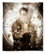 Movie Man Holding Cinema Popcorn Bucket At Film Fleece Blanket