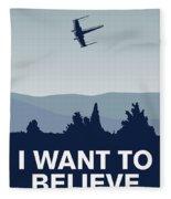 My I Want To Believe Minimal Poster-xwing Fleece Blanket