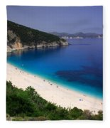 Myrtos Beach Fleece Blanket