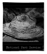 National Park Service Ranger Hat Black And White Fleece Blanket