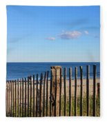 New England Beach Past A Fence Fleece Blanket