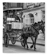 New Orleans - Carriage Ride Bw Fleece Blanket