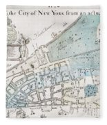 New York City Map, 1728 Fleece Blanket