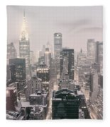 New York City - Snow Covered Skyline Fleece Blanket by Vivienne Gucwa
