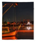 Night In The Harbor Fleece Blanket