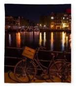 Night Lights On The Amsterdam Canals. Holland Fleece Blanket