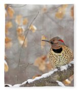 Northern Flicker Woodpecker Fleece Blanket