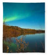 Northern Lights And Fall Colors At Calm Lake Fleece Blanket