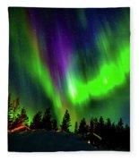 Northern Lights, Lapland, Sweden Fleece Blanket