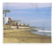 Nuclear Power Plant On The Beach, San Fleece Blanket