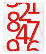 Numbers In Red And White Fleece Blanket