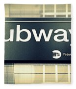 Nyc Subway Sign Fleece Blanket