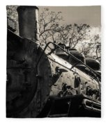 Old Black Locomotive Engine Details Fleece Blanket