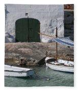 Typical Mediterranean Fishermen Boat And House In Minorca Island - Old Fishermen Villa Fleece Blanket