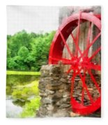 Old Grist Mill Vermont Red Water Wheel Fleece Blanket