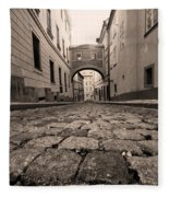 Old Street In Prague Fleece Blanket