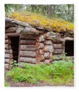Old Traditional Log Cabin Rotting In Yukon Taiga Fleece Blanket
