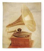 Old Vintage Gold Gramophone Photo. Classical Sound Fleece Blanket