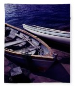 Old Wooden Boats At Night Fleece Blanket