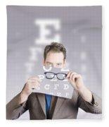 Optometrist Or Vision Doctor Holding Eye Glasses Fleece Blanket