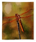 Orange Dragonfly Fleece Blanket