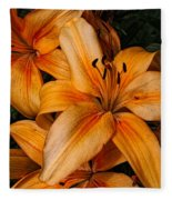 Orange Lilies Fleece Blanket