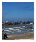Oregon Beach And Rocks Fleece Blanket