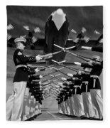 Over The Marine Corps Silent Drill Platoon Fleece Blanket