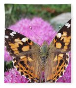 Painted Lady Butterfly Up Close Fleece Blanket