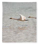 Pair Of Flying Trumpeter Swans Cygnus Buccinator Fleece Blanket