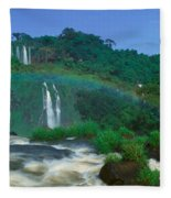 Panoramic View Of Iguazu Waterfalls Fleece Blanket