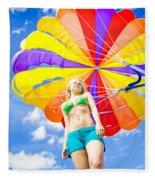 Parasailing On Summer Vacation Fleece Blanket