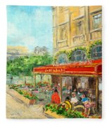 Paris Cafe Fleece Blanket