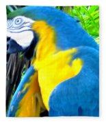 Blue Yellow Macaw. Parrot. Photo Of Bird Fleece Blanket