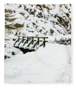 Pathway Through The Snow Fleece Blanket
