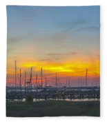 Patriots Point Sunset Fleece Blanket