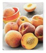 Peaches On Plate Fleece Blanket