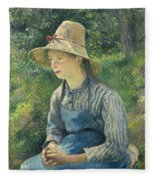 Peasant Girl With A Straw Hat Fleece Blanket