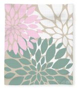 Peony Flowers Fleece Blanket