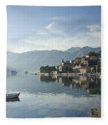Perast Village In Montenegro Fleece Blanket