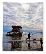 Peter Iredale Shipwreck, Fort Stevens Fleece Blanket