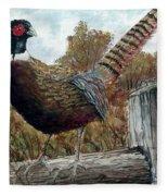Pheasant On Fence Fleece Blanket