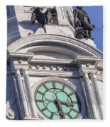 Philadelphia City Hall Clock Fleece Blanket
