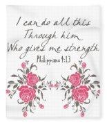 Philippians 4 13 Fleece Blanket