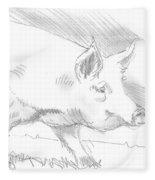 Pig Drawing Fleece Blanket