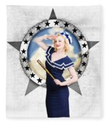 Pin-up Sailor Girl On Boat. Holiday Abroad Fleece Blanket